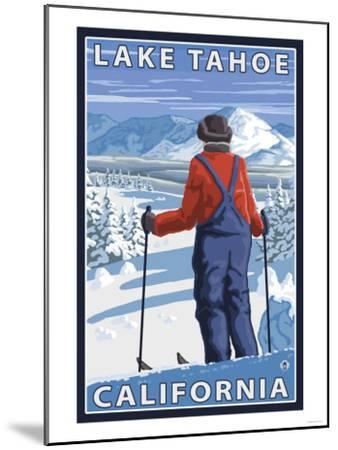 Skier Admiring, Lake Tahoe, California-Lantern Press-Mounted Art Print