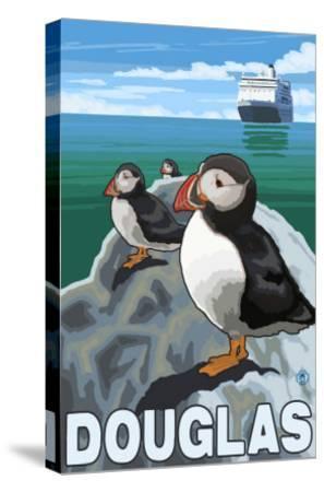 Puffins & Cruise Ship, Douglas, Alaska-Lantern Press-Stretched Canvas Print