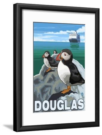 Puffins & Cruise Ship, Douglas, Alaska-Lantern Press-Framed Art Print