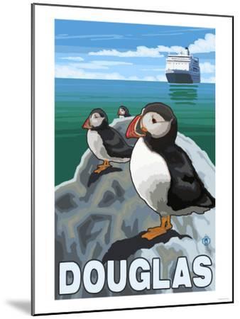 Puffins & Cruise Ship, Douglas, Alaska-Lantern Press-Mounted Art Print