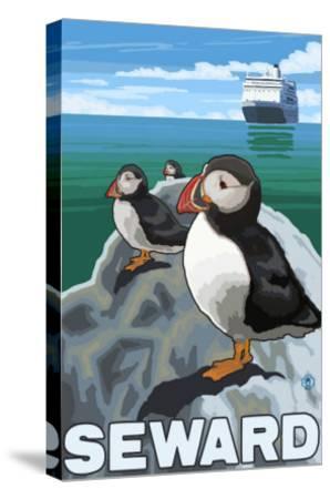 Puffins & Cruise Ship, Seward, Alaska-Lantern Press-Stretched Canvas Print