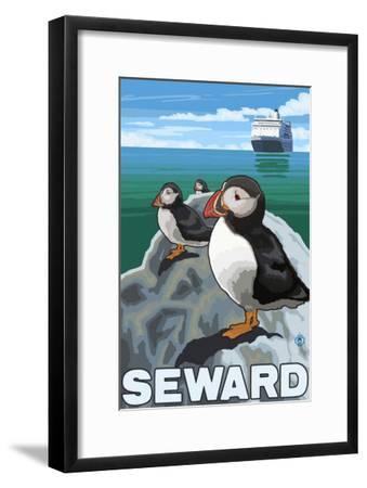 Puffins & Cruise Ship, Seward, Alaska-Lantern Press-Framed Art Print