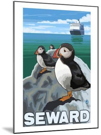 Puffins & Cruise Ship, Seward, Alaska-Lantern Press-Mounted Art Print