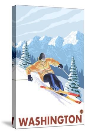 Downhhill Snow Skier, Washington-Lantern Press-Stretched Canvas Print