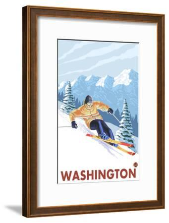 Downhhill Snow Skier, Washington-Lantern Press-Framed Art Print