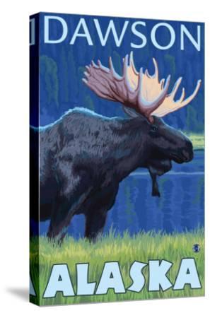 Moose at Night, Dawson, Alaska-Lantern Press-Stretched Canvas Print