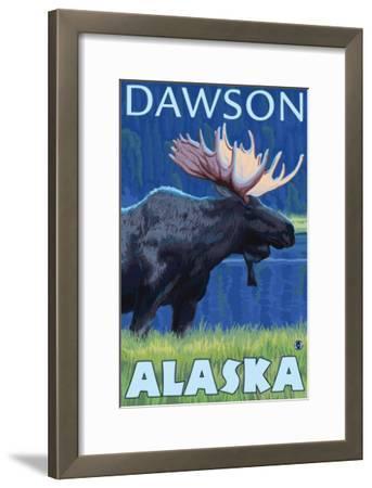 Moose at Night, Dawson, Alaska-Lantern Press-Framed Art Print