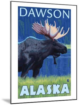 Moose at Night, Dawson, Alaska-Lantern Press-Mounted Art Print