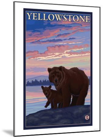 Bear and Cub, Yellowstone National Park-Lantern Press-Mounted Art Print
