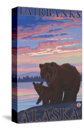 Bear and Cub, Fairbanks, Alaska-Lantern Press-Stretched Canvas Print