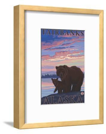 Bear and Cub, Fairbanks, Alaska-Lantern Press-Framed Art Print
