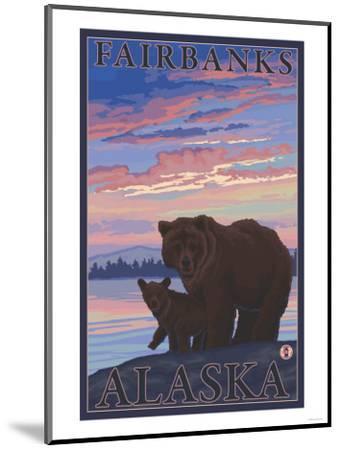 Bear and Cub, Fairbanks, Alaska-Lantern Press-Mounted Art Print