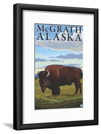 Bison Scene, McGrath, Alaska-Lantern Press-Framed Art Print