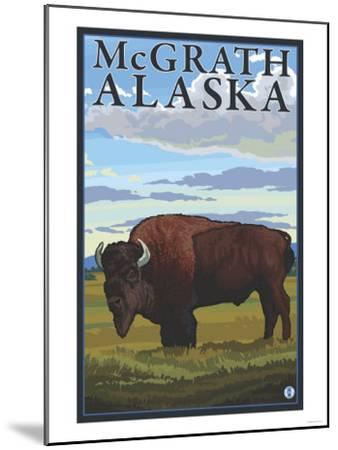 Bison Scene, McGrath, Alaska-Lantern Press-Mounted Art Print