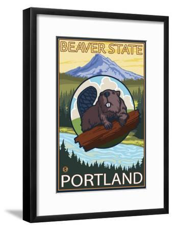 Beaver & Mt. Hood, Portland, Oregon-Lantern Press-Framed Art Print