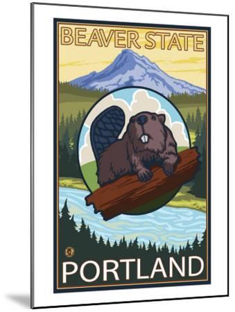 Beaver & Mt. Hood, Portland, Oregon-Lantern Press-Mounted Art Print