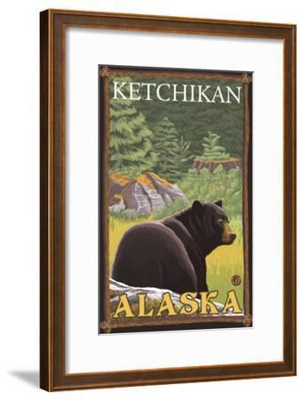 Black Bear in Forest, Ketchikan, Alaska-Lantern Press-Framed Art Print