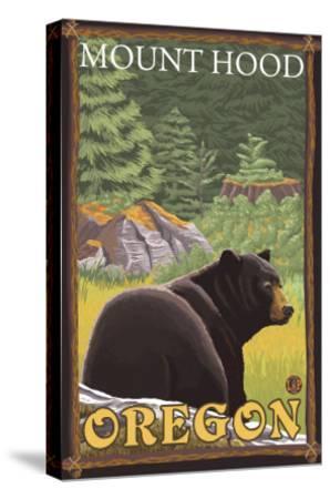 Black Bear in Forest, Mount Hood, Oregon-Lantern Press-Stretched Canvas Print
