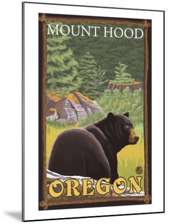 Black Bear in Forest, Mount Hood, Oregon-Lantern Press-Mounted Art Print