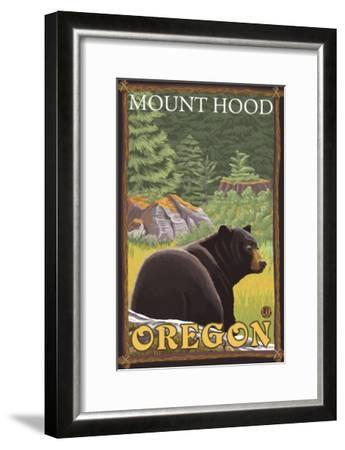 Black Bear in Forest, Mount Hood, Oregon-Lantern Press-Framed Art Print