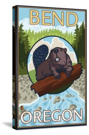 Beaver & River, Bend, Oregon-Lantern Press-Stretched Canvas Print