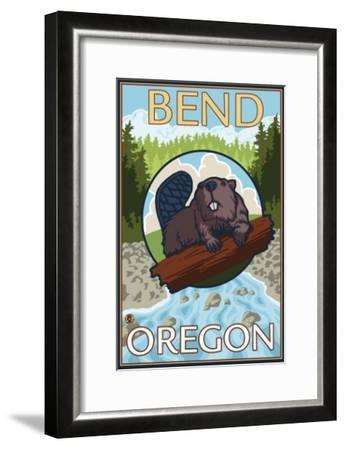Beaver & River, Bend, Oregon-Lantern Press-Framed Art Print