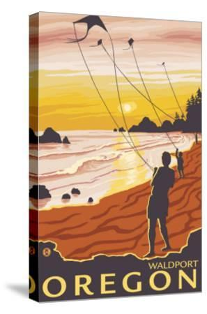 Beach & Kites, Waldport, Oregon-Lantern Press-Stretched Canvas Print