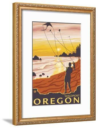 Beach & Kites, Waldport, Oregon-Lantern Press-Framed Art Print