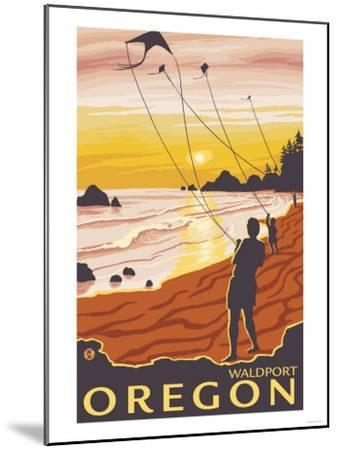 Beach & Kites, Waldport, Oregon-Lantern Press-Mounted Art Print