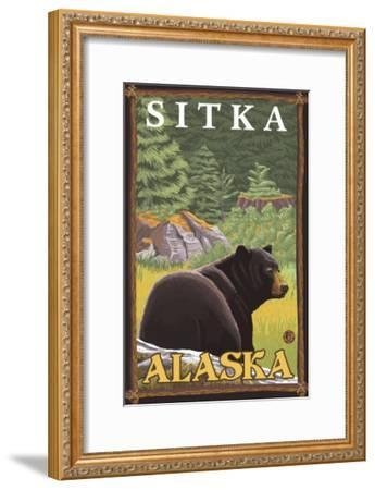 Black Bear in Forest, Sitka, Alaska-Lantern Press-Framed Art Print