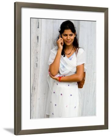 Woman on Cell Phone in Modern New Delhi, India-Bill Bachmann-Framed Photographic Print