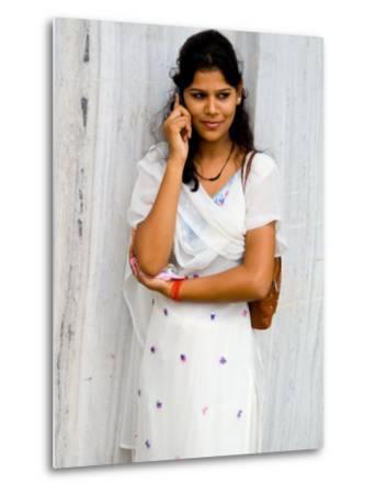 Woman on Cell Phone in Modern New Delhi, India-Bill Bachmann-Metal Print