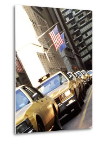 Line of Taxi Cabs in New York City, New York, USA-Bill Bachmann-Metal Print