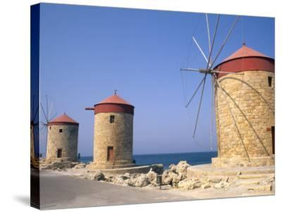 Old Windmills of Rhodes, Greece-Bill Bachmann-Stretched Canvas Print