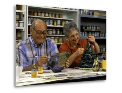 Retired Couple Making Ceramics in Art Class-Bill Bachmann-Metal Print