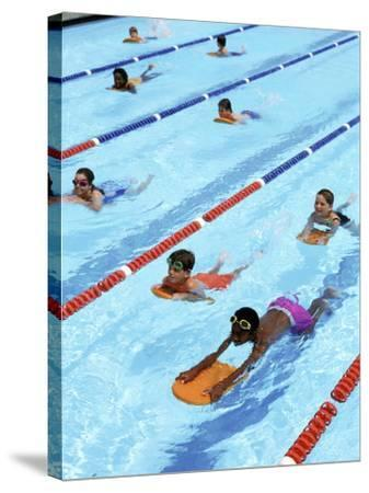 Children Learning to Swim-Bill Bachmann-Stretched Canvas Print