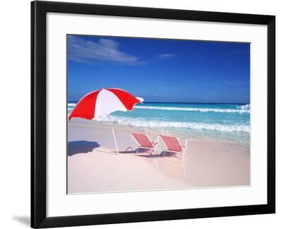 Lounge Chairs and Umbrella on the Beach-Bill Bachmann-Framed Photographic Print