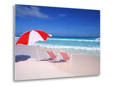 Lounge Chairs and Umbrella on the Beach-Bill Bachmann-Metal Print