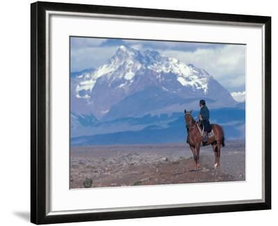Sheep Herd and Gaucho, Patagonia, Argentina-Art Wolfe-Framed Photographic Print