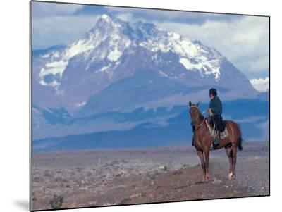 Sheep Herd and Gaucho, Patagonia, Argentina-Art Wolfe-Mounted Photographic Print