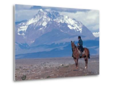 Sheep Herd and Gaucho, Patagonia, Argentina-Art Wolfe-Metal Print