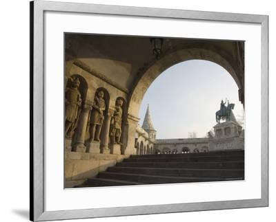 Sunset Ight on St. Stephens Statue, Castle Hill Area, Budapest, Hungary, Europe-Christian Kober-Framed Photographic Print