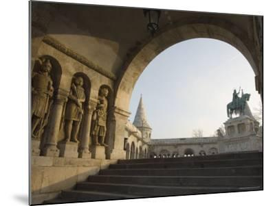 Sunset Ight on St. Stephens Statue, Castle Hill Area, Budapest, Hungary, Europe-Christian Kober-Mounted Photographic Print