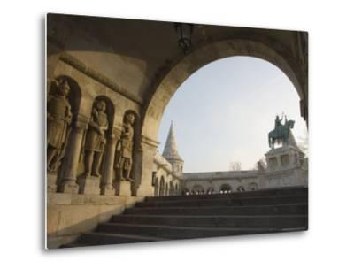 Sunset Ight on St. Stephens Statue, Castle Hill Area, Budapest, Hungary, Europe-Christian Kober-Metal Print