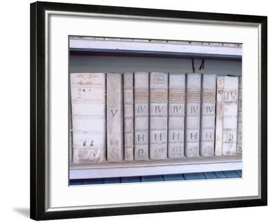 Historical Books at Strahov Monastery, Hradcany, Prague, Czech Republic, Europe-Richard Nebesky-Framed Photographic Print