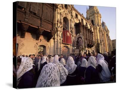 Crowds Celebrating Christian Festival of Easter Sunday, Lima, Peru, South America-Oliviero Olivieri-Stretched Canvas Print