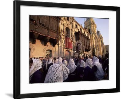 Crowds Celebrating Christian Festival of Easter Sunday, Lima, Peru, South America-Oliviero Olivieri-Framed Photographic Print