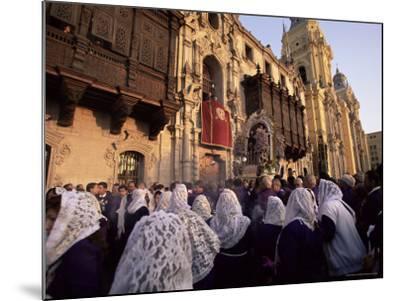 Crowds Celebrating Christian Festival of Easter Sunday, Lima, Peru, South America-Oliviero Olivieri-Mounted Photographic Print