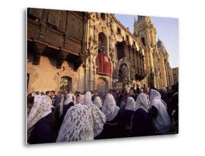 Crowds Celebrating Christian Festival of Easter Sunday, Lima, Peru, South America-Oliviero Olivieri-Metal Print