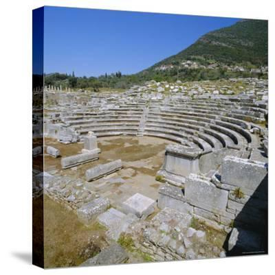 Amphitheatre at Sanctuary of Zeus, Mavromati Ithomi, Peloponese, Greece, Europe-Tony Gervis-Stretched Canvas Print